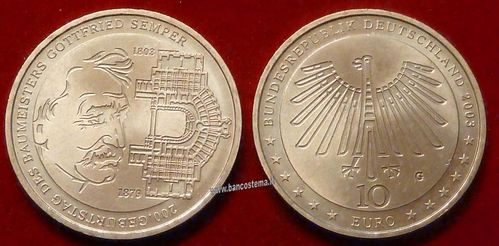 "Germania 10 euro commemorativa 2003 ""200th Birthday of Gottfried Semper"" argento fdc"
