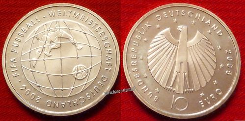 "Germania 10 euro commemorativa 2005 ""Fifa World cup 2006"" argento fdc"