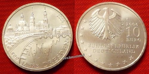 "Germania 10 euro commemorativa 2006 ""800 years of Dresden"" argento fdc"