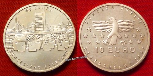 "Germania 10 euro commemorativa 2007 ""50 Years of Saarland"" argento fdc"