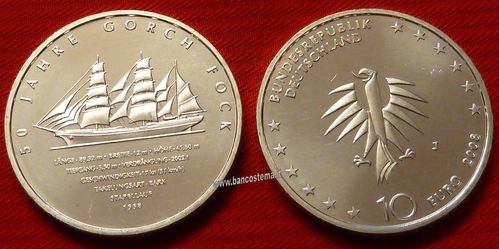"Germania 10 euro commemorativa 2008 ""Gorch Fock II, 50th Anniversary"" argento fdc"