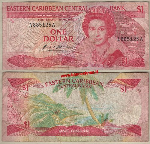 E.C.S - East Caribbean States P17a 1 dollar nd 1985-88 f