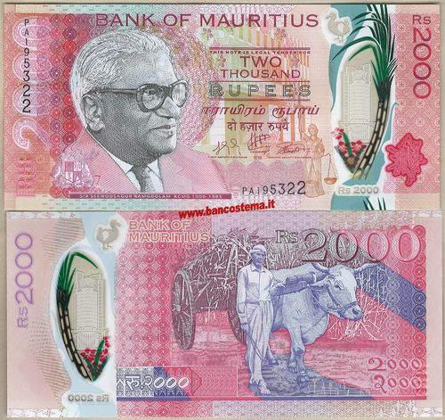 Mauritius 2.000 Rupees 2018 (2019) polymer unc