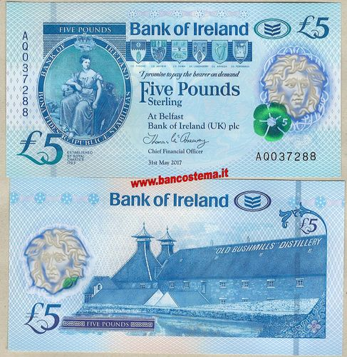 Northern Ireland 5 Pounds Bank of Ireland 31.05.2017 polymer unc