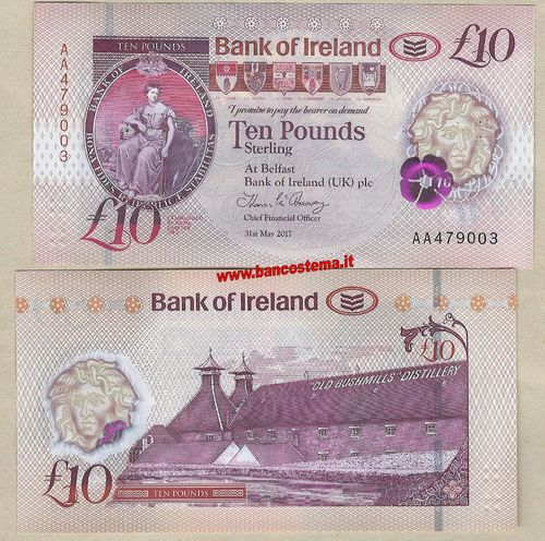 Northern Ireland 10 Pounds Bank of Ireland 31.05.2017 polymer unc