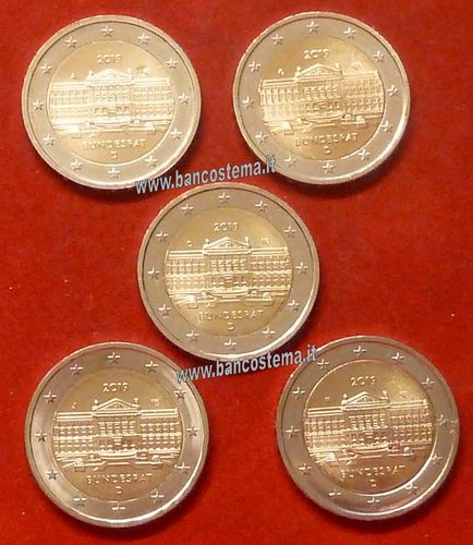 83ba499a1c Germany 2 euro commemorative 2019 5 mints 70º anniversary of Bundesrat unc