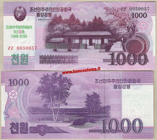 Korea North CS21 1.000 Won commemorativo 2018 unc