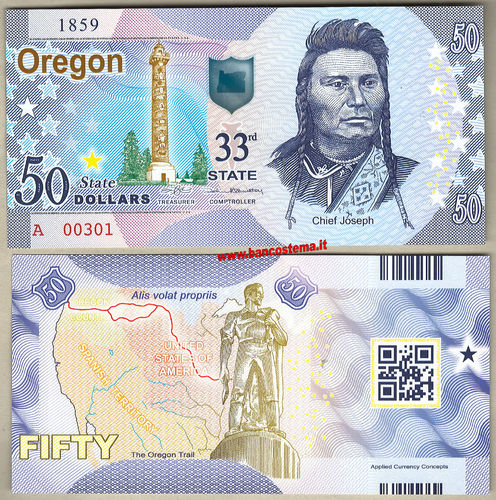 Usa 50 dollars Oregon 33th State Polymer unc