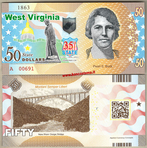 Usa 50 dollars West Virginia 35th State Polymer unc