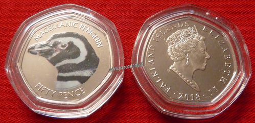 Falkland Islands 50 Pence commemorativa Magellanic Penguin color unc