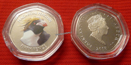 Falkland Islands 50 Pence commemorativa Macaroni Penguin color unc