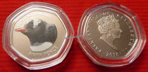 Falkland Islands 50 Pence commemorativa Pinguino Papua (Gentoo Penguin) color unc