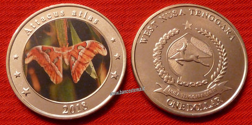 West Nusa Tenggara 1 dollar Attacus Atlas color 2018 unc