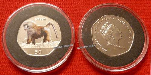 Gibraltar 50 Pence commemorativa Baboon color 2018 unc