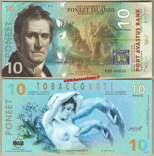 Poneet Islands Tobacco note 10 Kasutu  unc polymer