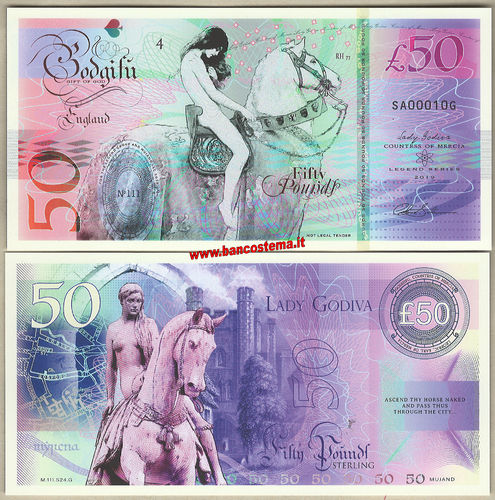 England 50 Pounds Lady Godiva polymer nd 2019 unc