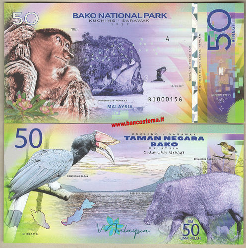 Bako National Park 50 Ringgit 2019 unc polymer