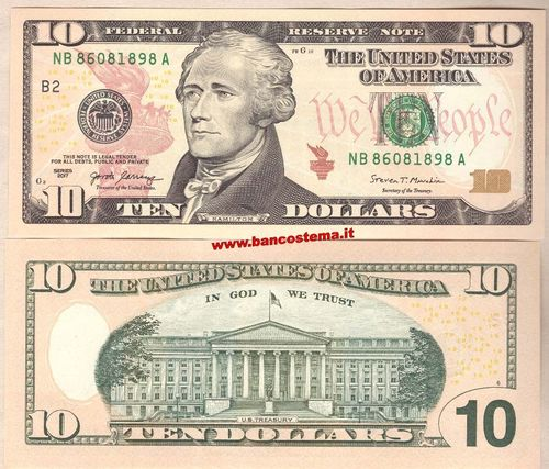 "Usa 10 Dollars ""B2"" 2017 New York unc"