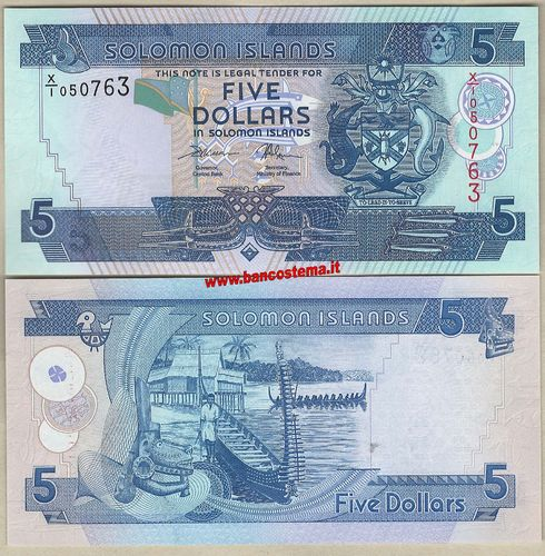 Solomon Islands P26R 5 Dollars nd 2017 REPLACEMENT unc
