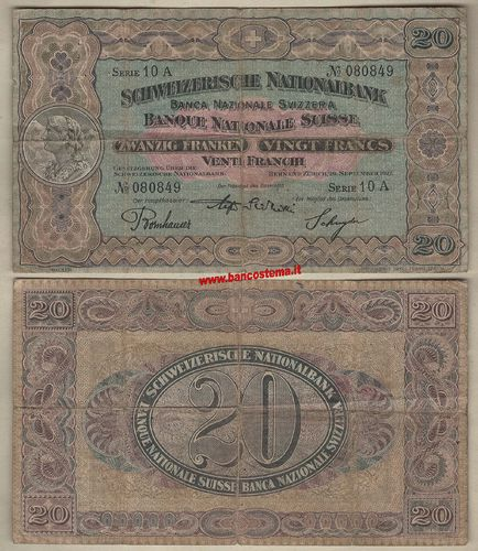 Switzerland P33e 20 Francs 29.09.1927 vf
