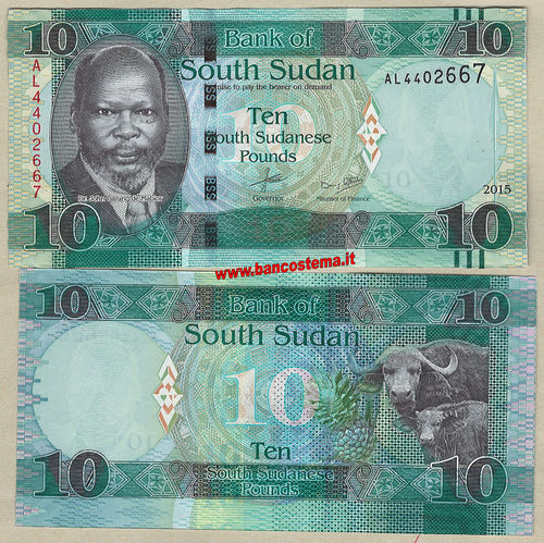 South Sudan P12a 10 Pounds 2015 unc