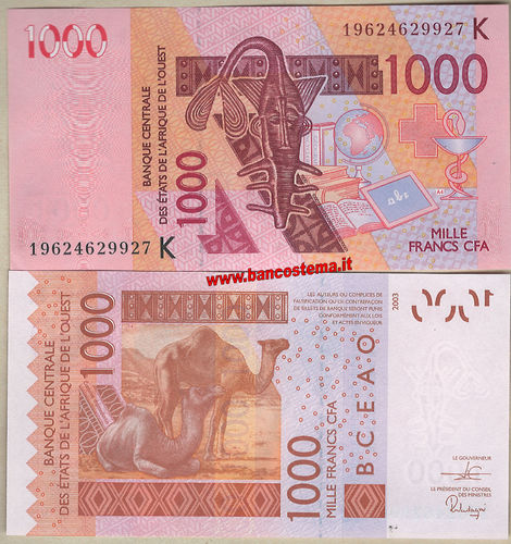 Senegal 1.000 Francs 2019 unc W.A.S let.K