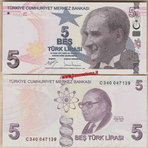 Turkey P222c 5 Lirasi 2009 (2017) unc