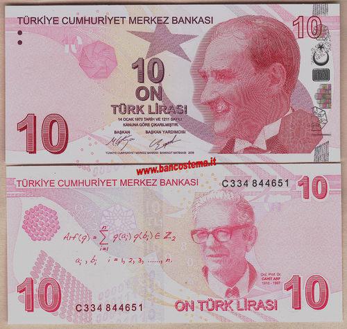 Turkey P223c 10 Lirasi 2009 (2017) unc