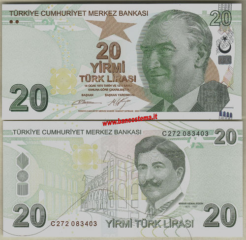 Turkey P224c 20 Lirasi 2009 (2017) unc