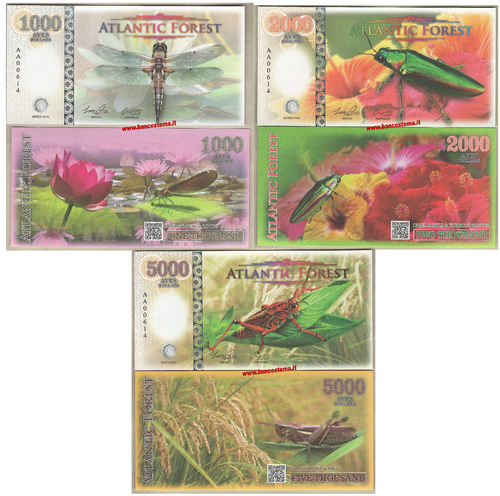 Atlantic Forest 1.000-2.000-5.000 aves dollars set 3 pz. marzo 2016 paper unc