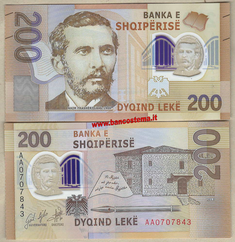 2019 New in Circulation UNC Polymer ALBANIA 2017-200 LEKE Banknote