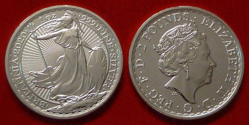 Great Britain serie Britannia 2 pounds 2020 oncia unc