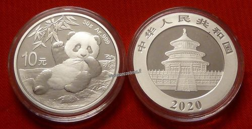 China 10 Yuan 2020 oncia panda fdc