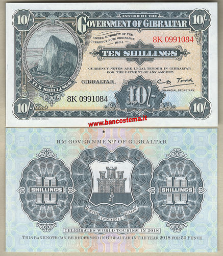 Gibraltar10 Shillings nd 2018 unc SPECIMENT