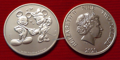 Niue 2 dollars 2020 oncia Michey Mouse and Minnie Mouse in love fdc