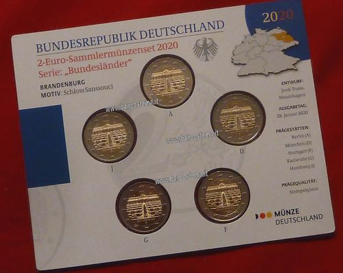 Germania 2 euro commemorativi 2019 5 zecche Schloss Sanssouci mint set FDC