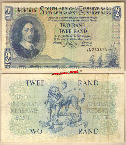 South Africa P104b 2 Rand nd 1961-1965 vf
