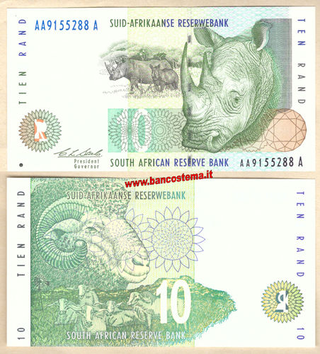 South Africa P123a 10 Rand nd 1993-1999 unc