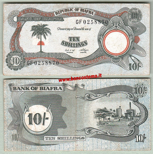 Biafra P4 10 Shillings nd 1968-69 FVF