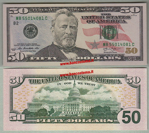 "Usa 50 Dollars ""B2"" New York 2013 unc"