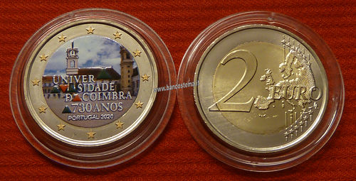 Portogallo 2 euro commemorativo 2020 730º anniversario dell'Università di Coimbra FDC Color